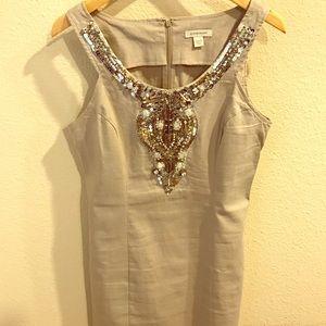 Boston Proper sleeveless dress with beaded neck